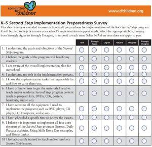 K–5 Second Step Implementation Preparedness Survey