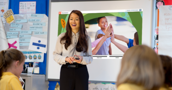 A teacher standing in front of her students teaching a lesson from the new Second Step® Elementary Digital Program