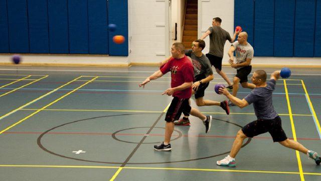 men playing dodgeball