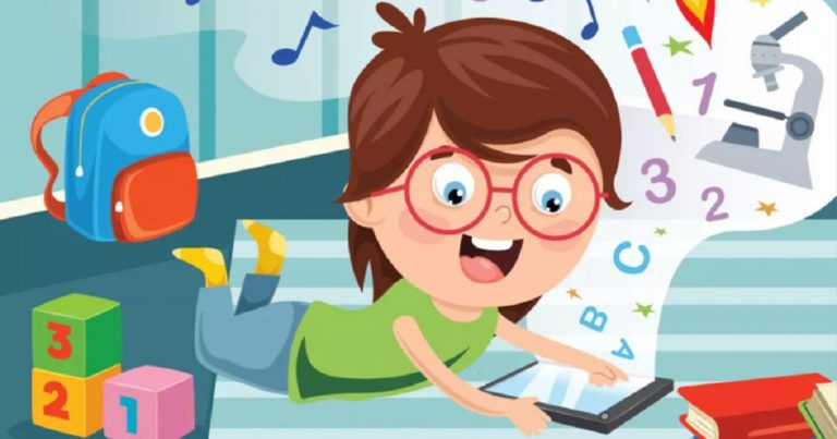 kid playing education games on tablet