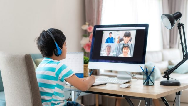 Student attending an online class